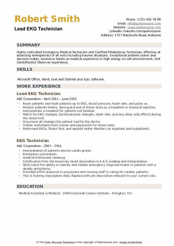 Ekg Technician Resume example