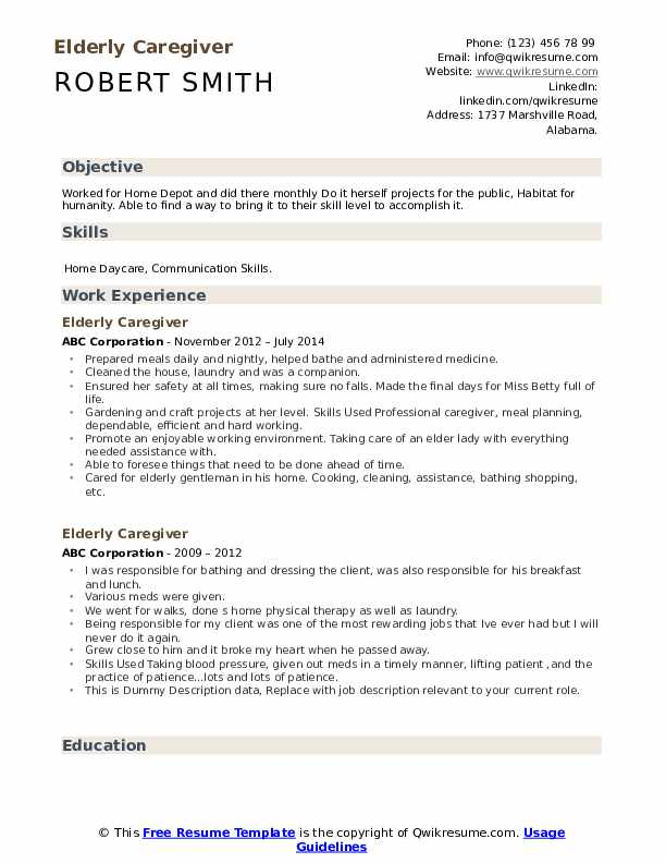 Elderly Caregiver Resume example