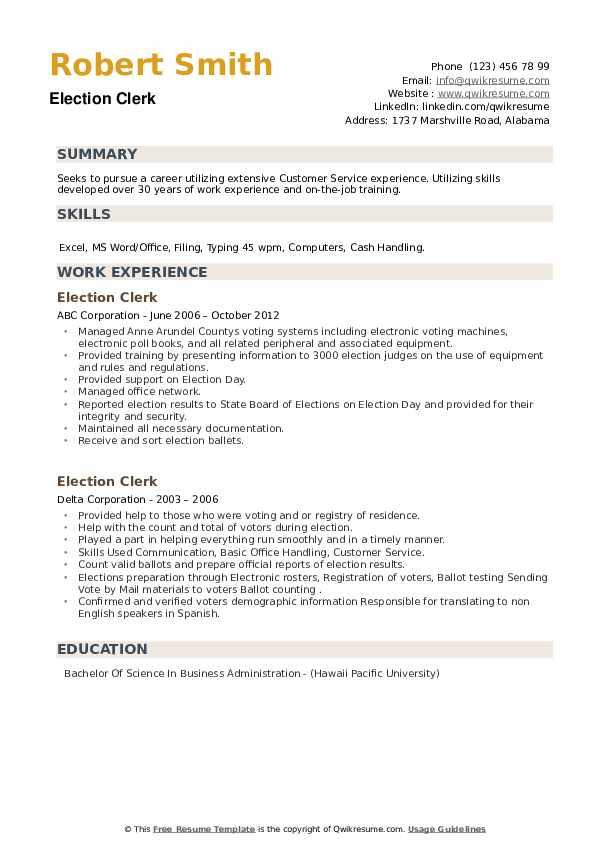 Election Clerk Resume example
