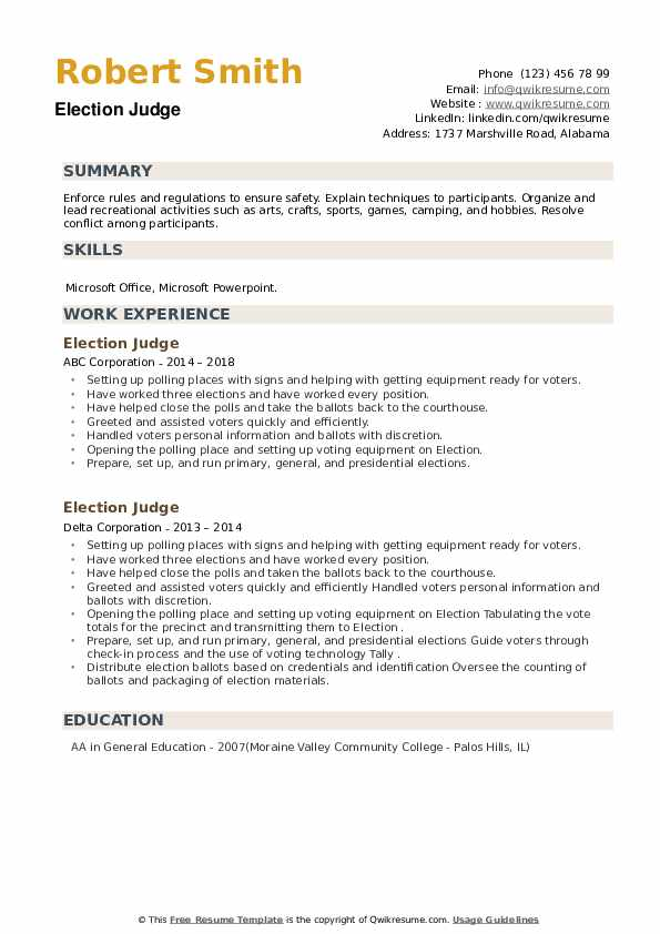 Election Judge Resume example