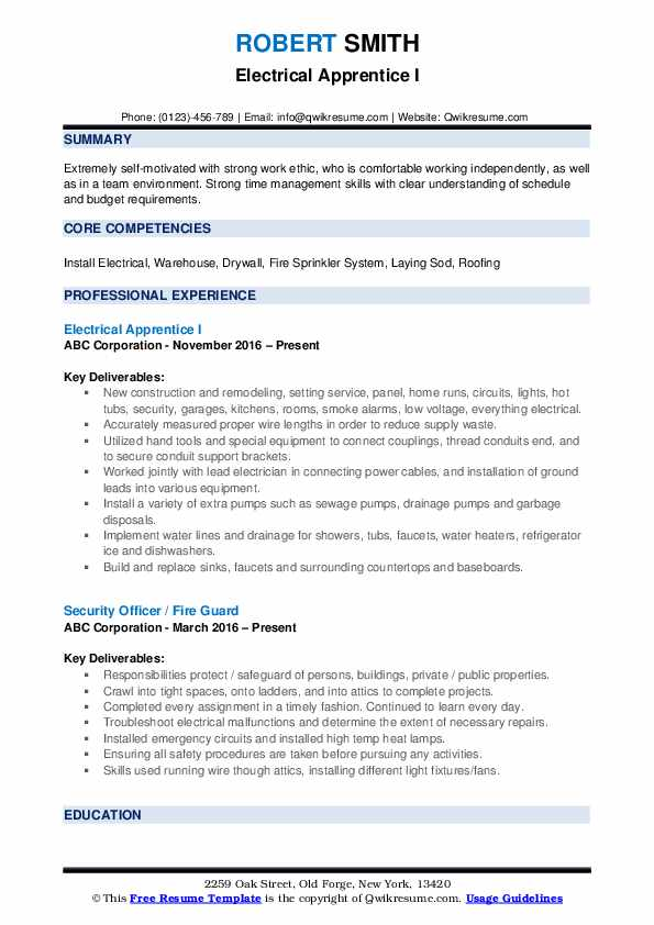 Electrical Apprentice I Resume Example