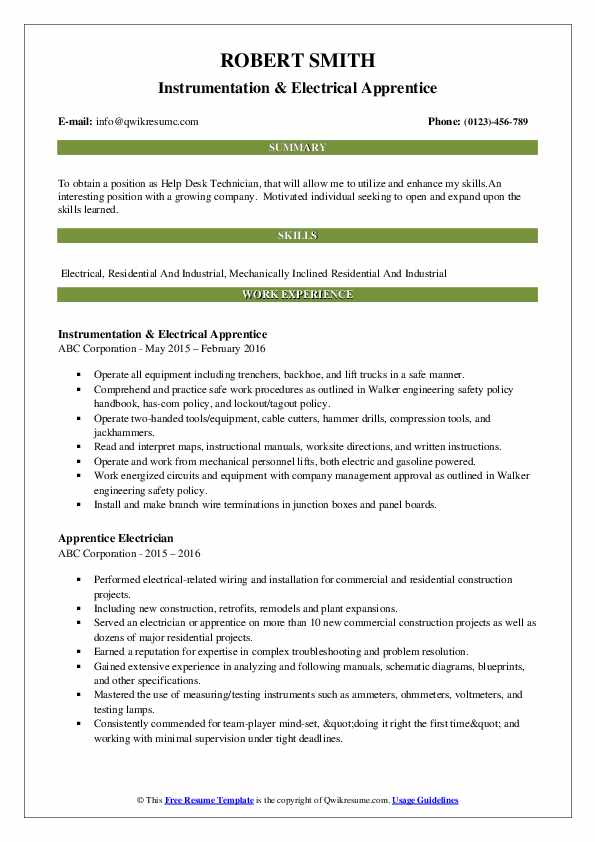 Instrumentation & Electrical Apprentice Resume Template