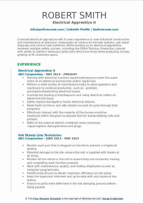 Electrical Apprentice II Resume Sample