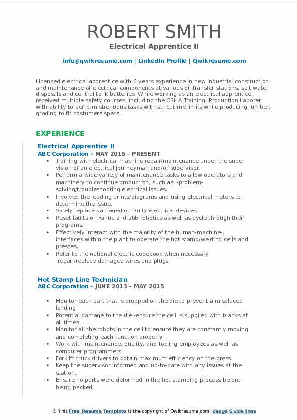 Electrical Apprentice II Resume Format