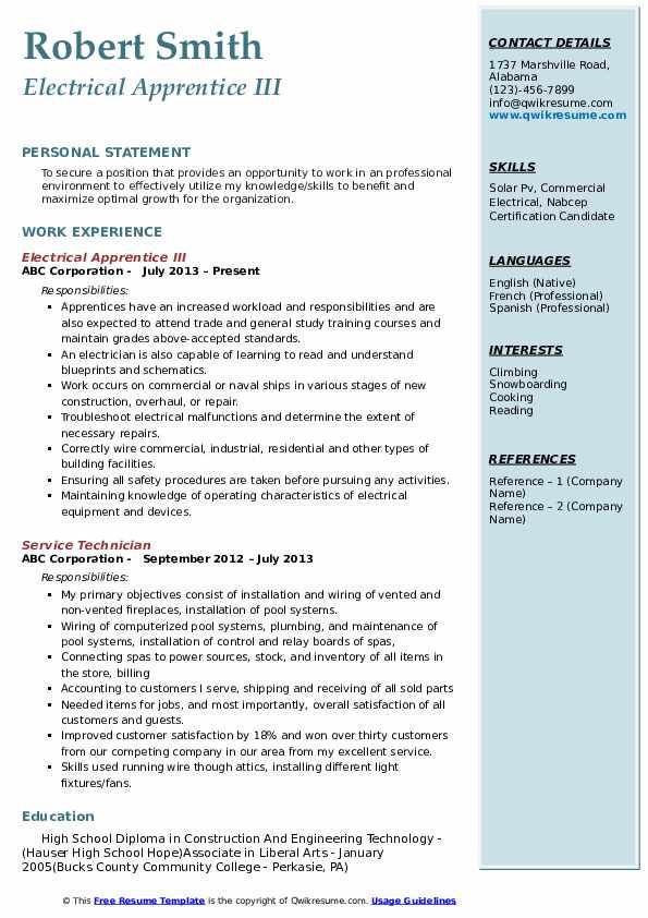 Electrical Apprentice III Resume Example