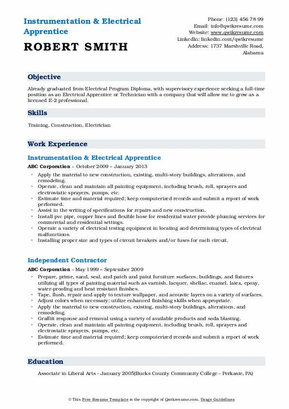 Instrumentation & Electrical Apprentice Resume Example