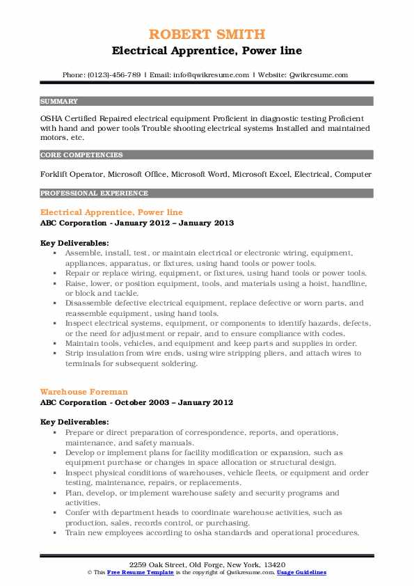 Electrical Apprentice, Power line Resume Format