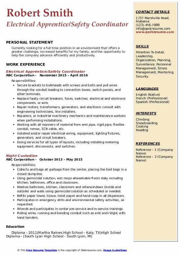 Electrical Apprentice/Safety Coordinator Resume Example