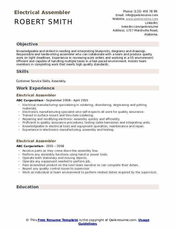 Electrical Assembler Resume Sample