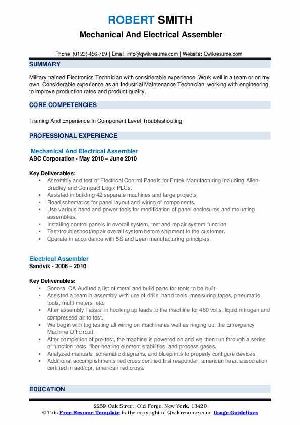Mechanical And Electrical Assembler Resume Model