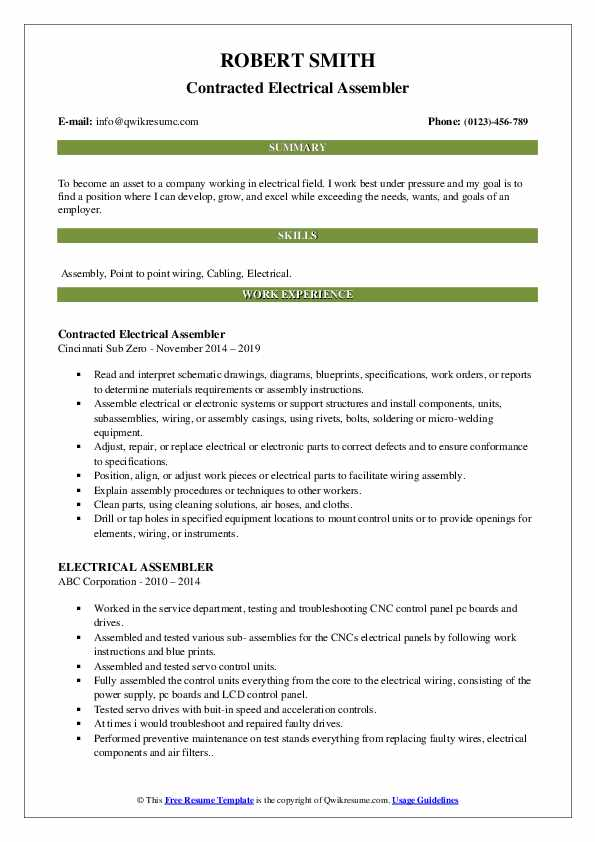 Contracted Electrical Assembler Resume Sample