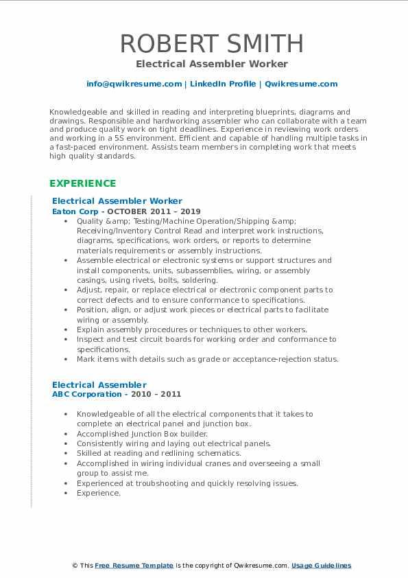 Electrical Assembler Worker Resume Sample
