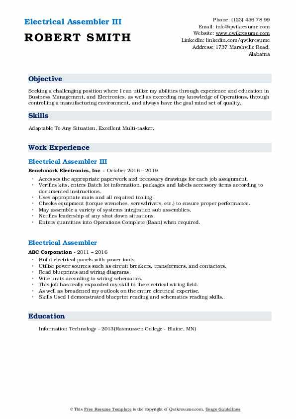 Electrical Assembler III Resume Example