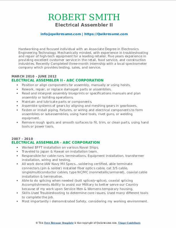 Electrical Assembler II Resume Model