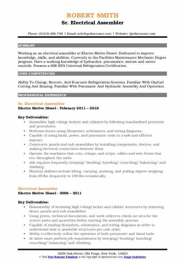 Sr. Electrical Assembler Resume Example