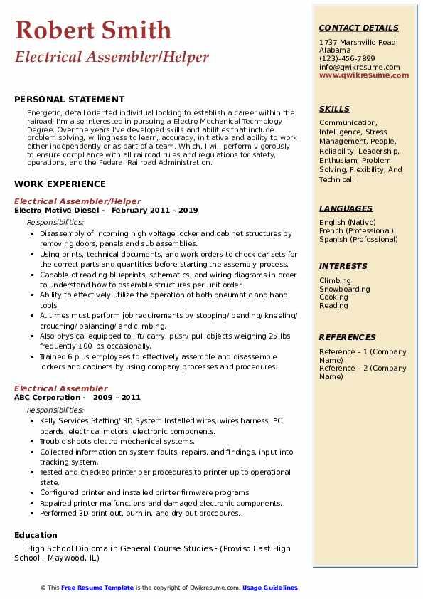 Electrical Assembler/Helper Resume Example