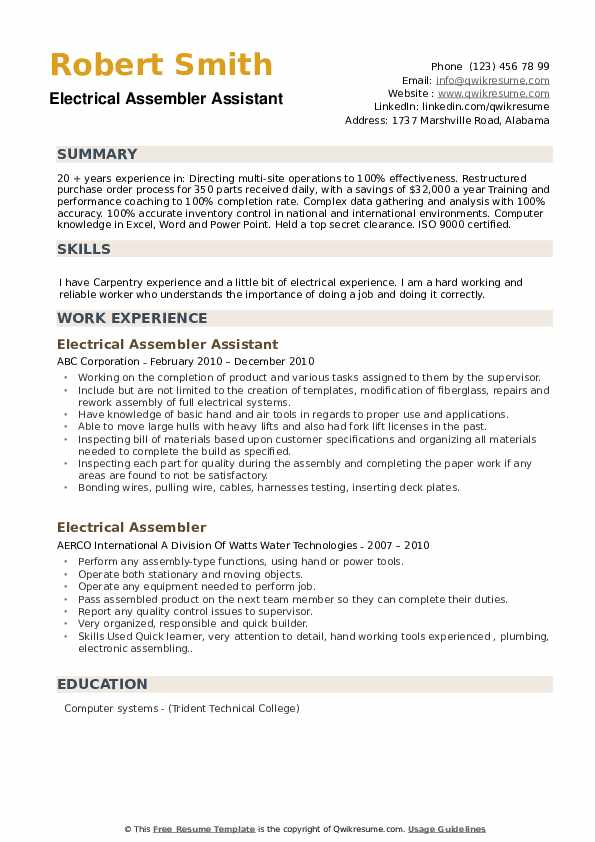 Electrical Assembler Assistant  Resume Example