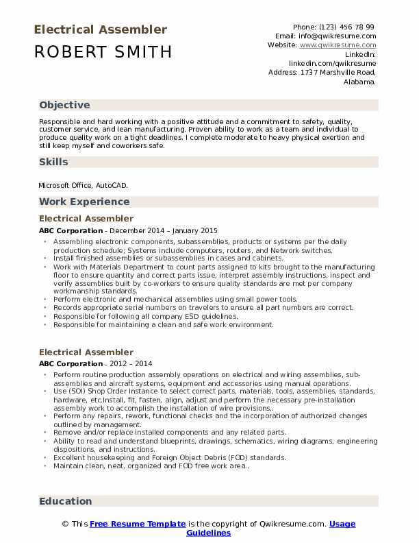 Electrical Assembler Resume example