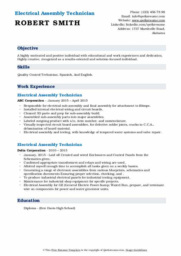 electrical assembly technician resume samples  qwikresume