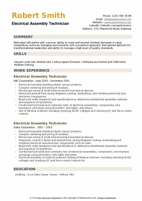 Electrical Assembly Technician Resume example
