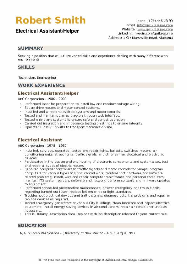 Electrical Assistant Resume example