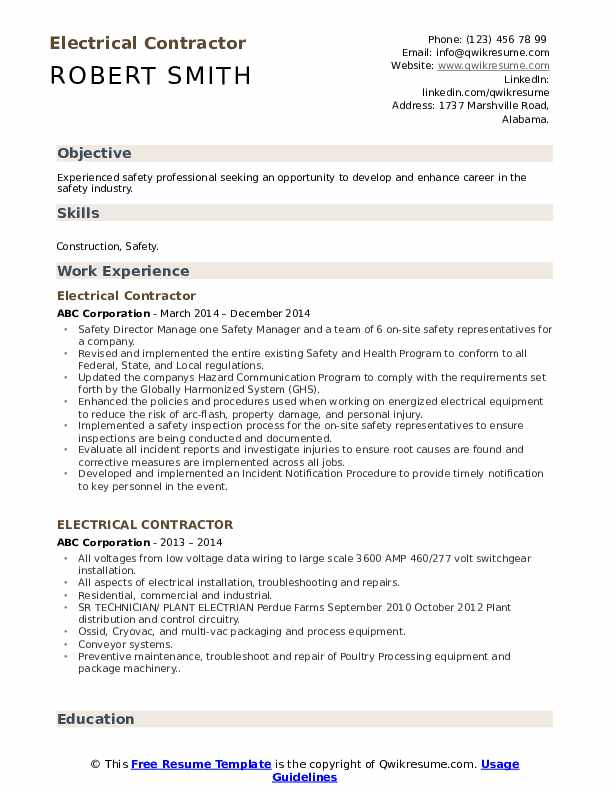 Electrical Contractor Resume Format
