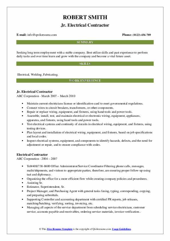 Jr. Electrical Contractor Resume Example