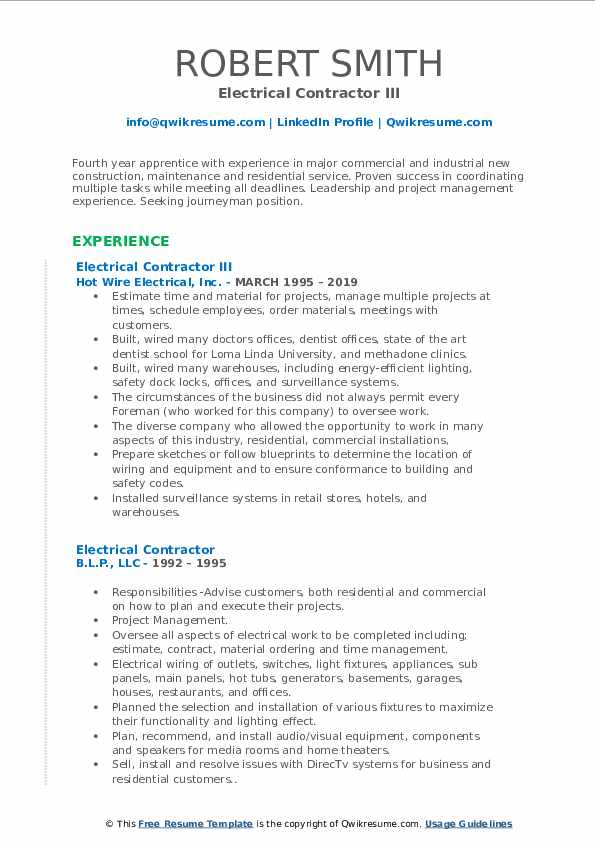 Electrical Contractor III Resume Template