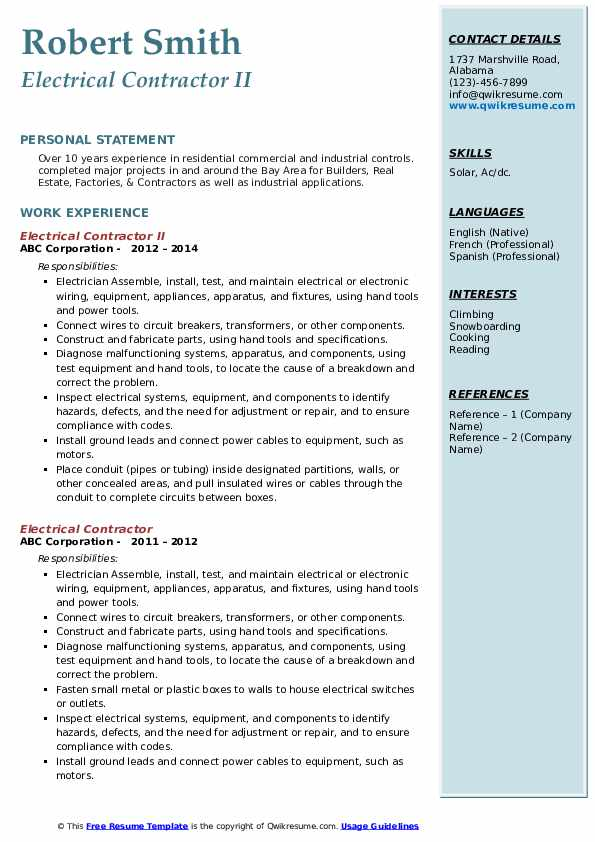 Electrical Contractor II Resume Template