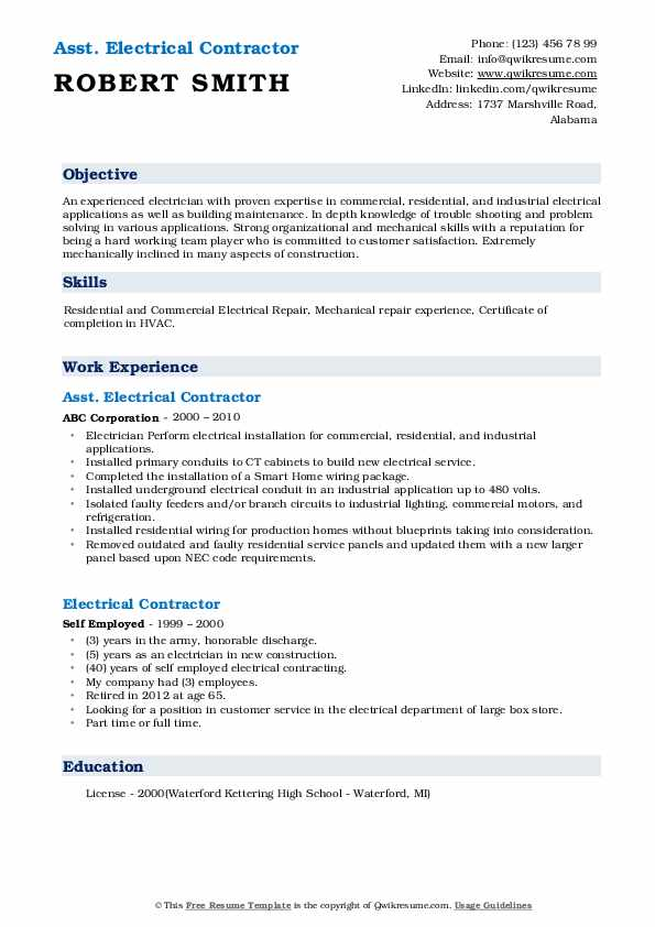 Asst. Electrical Contractor Resume Sample