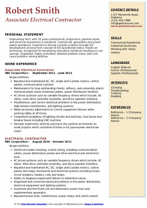 Associate Electrical Contractor Resume Format