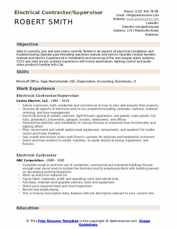 Electrical Contractor/Supervisor Resume Format