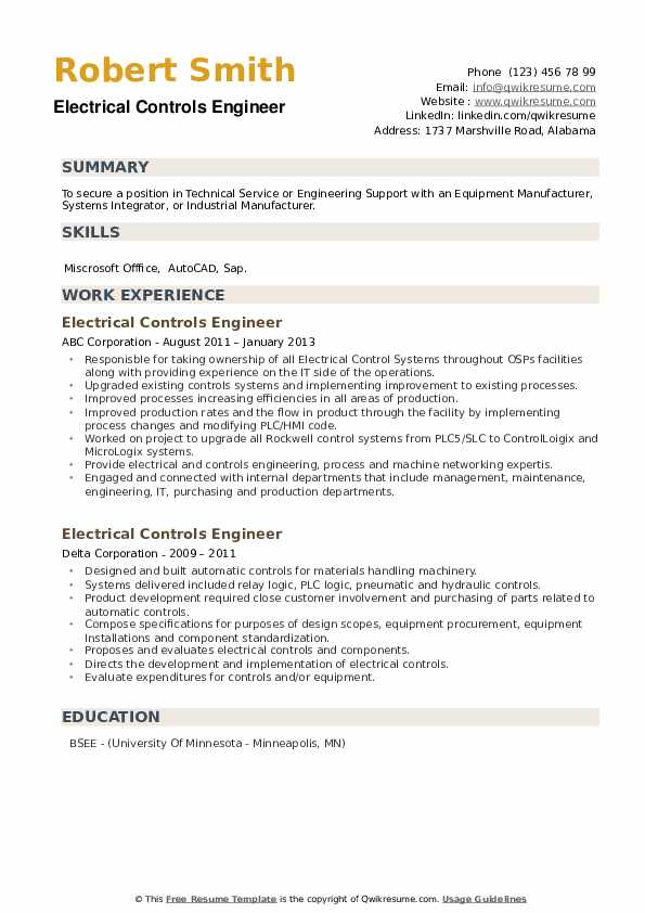 Electrical Controls Engineer Resume example