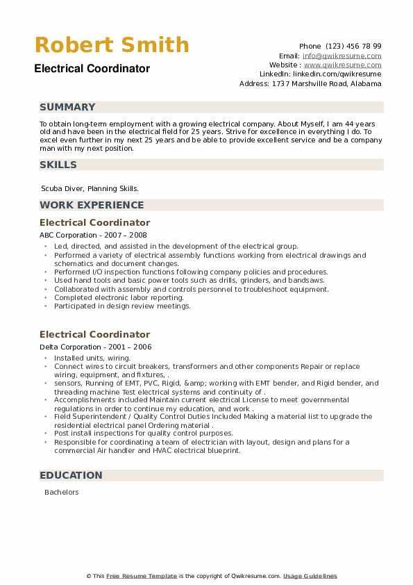 Electrical Coordinator Resume example