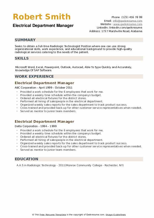 Electrical Department Manager Resume example