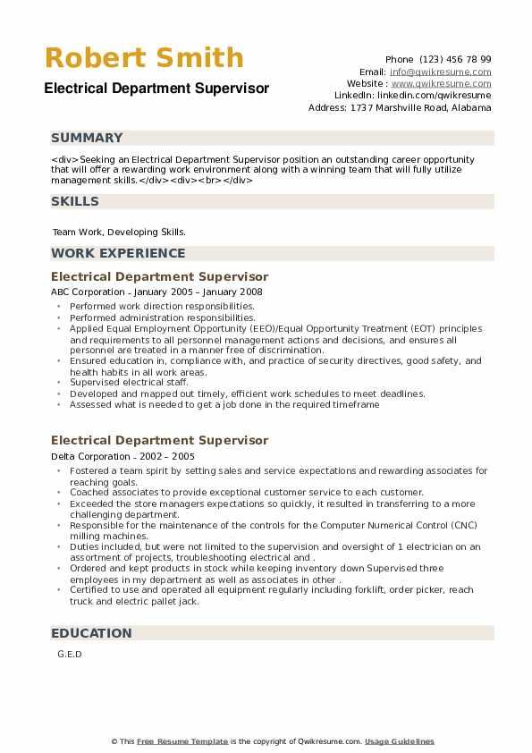 Electrical Department Supervisor Resume example