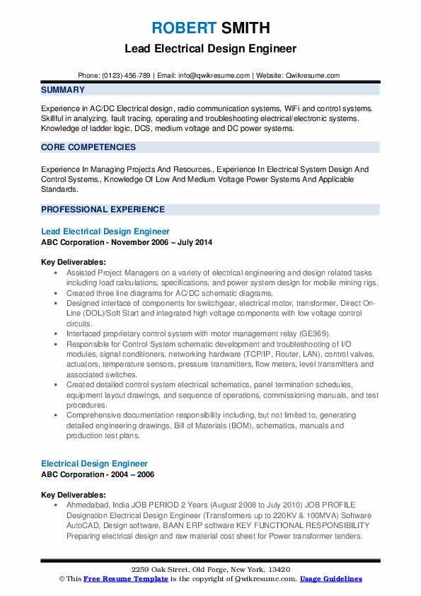 Lead Electrical Design Engineer Resume Format
