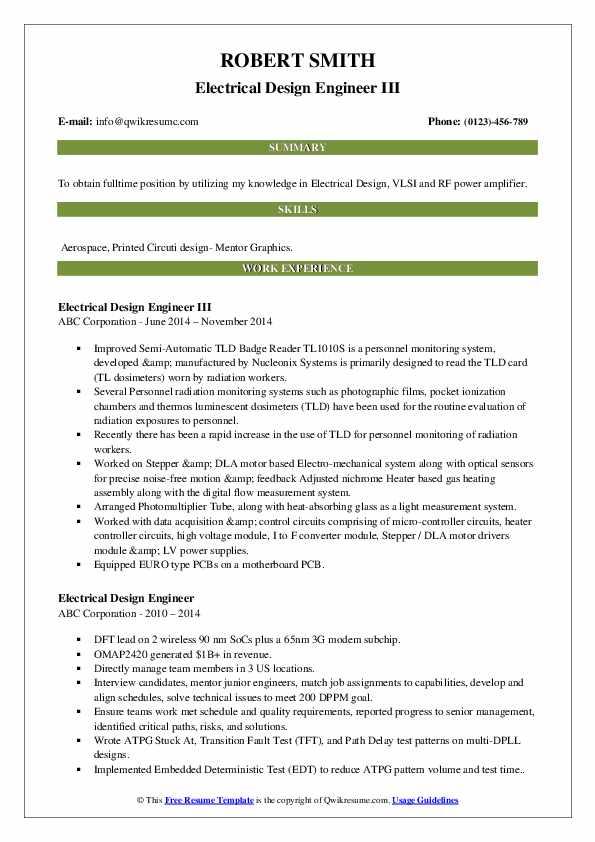 Electrical Design Engineer III Resume Model