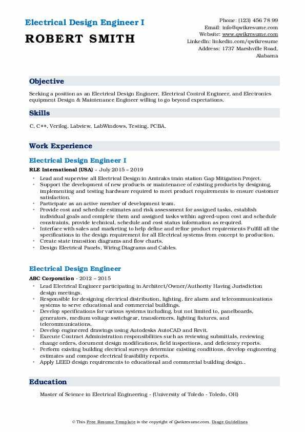 Electrical Design Engineer I Resume Format