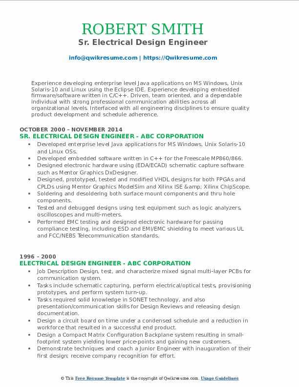 Sr. Electrical Design Engineer Resume Format