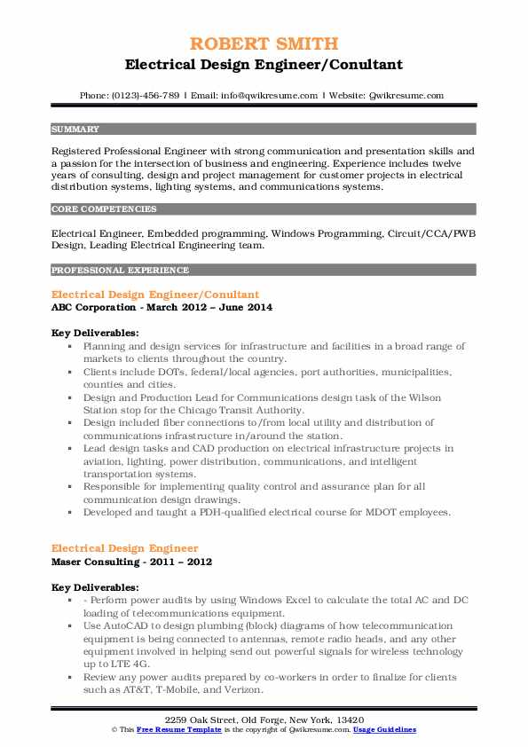 Electrical Design Engineer Resume Samples Qwikresume