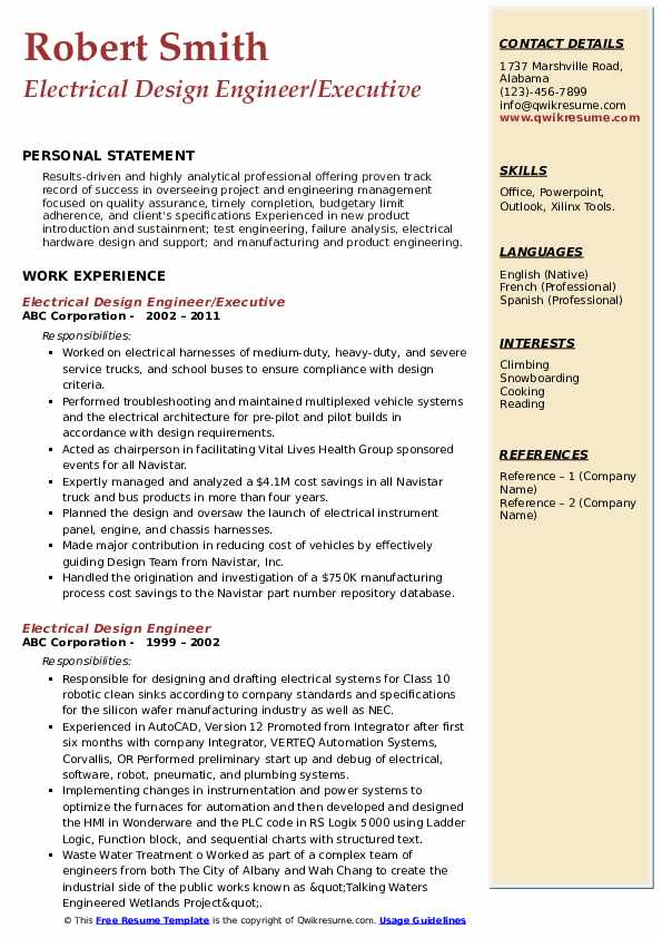Electrical Design Engineer/Executive Resume Example