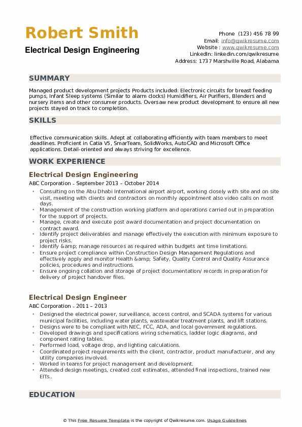 Electrical Design Engineering Resume Example