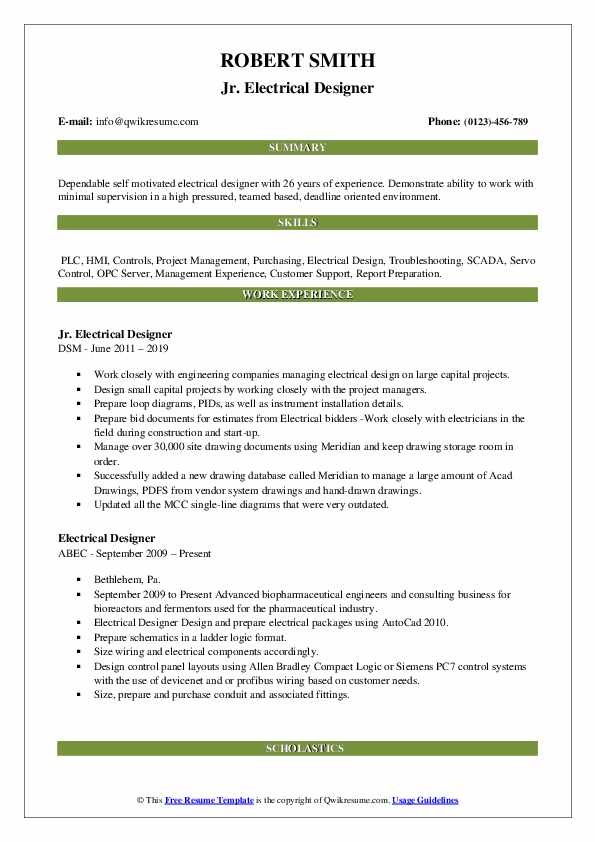 Jr. Electrical Designer Resume Format