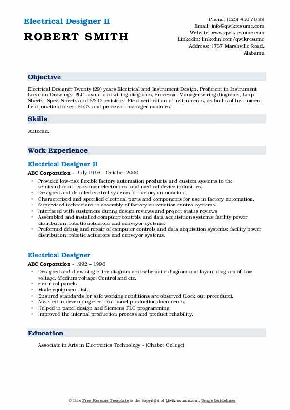 Electrical Designer II Resume Example