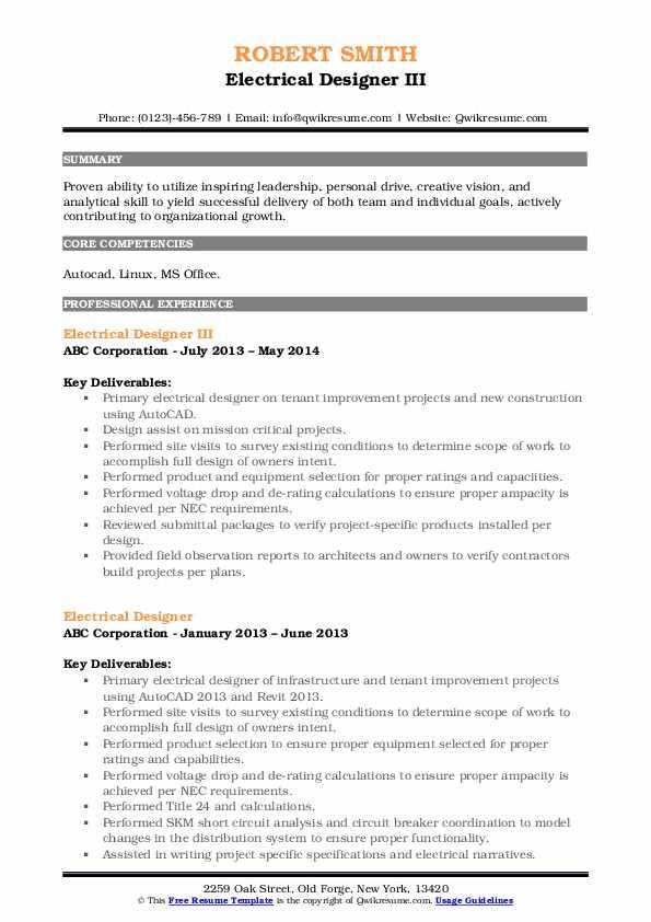 Electrical Designer III Resume Format