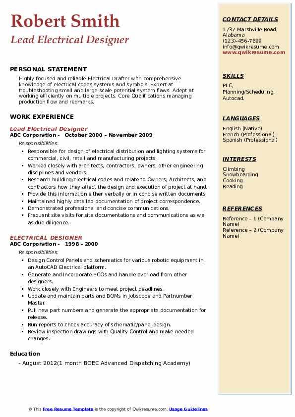 Lead Electrical Designer Resume Model