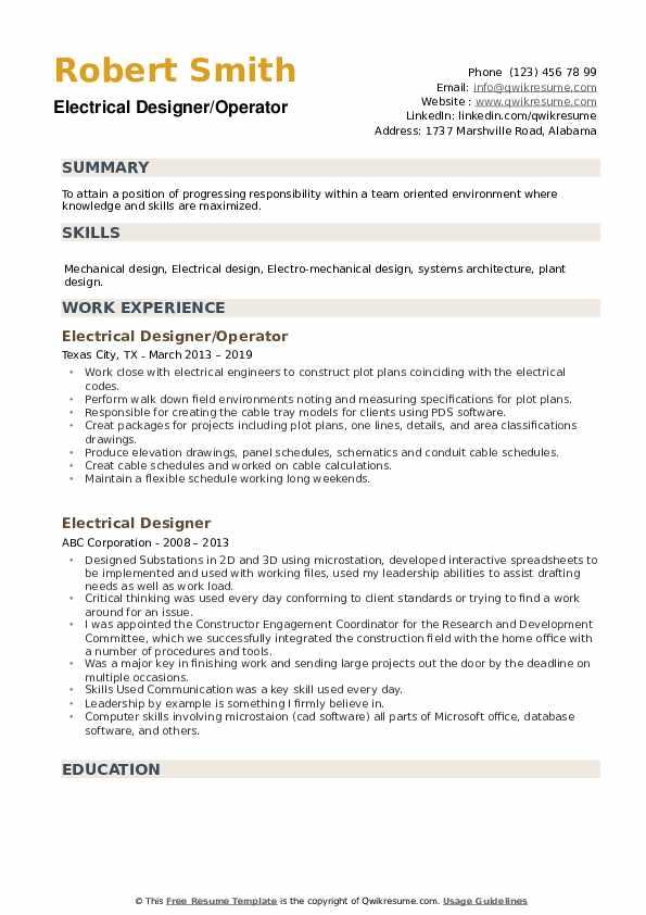 Electrical Designer/Operator Resume Example