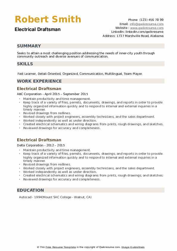 Electrical Draftsman Resume example