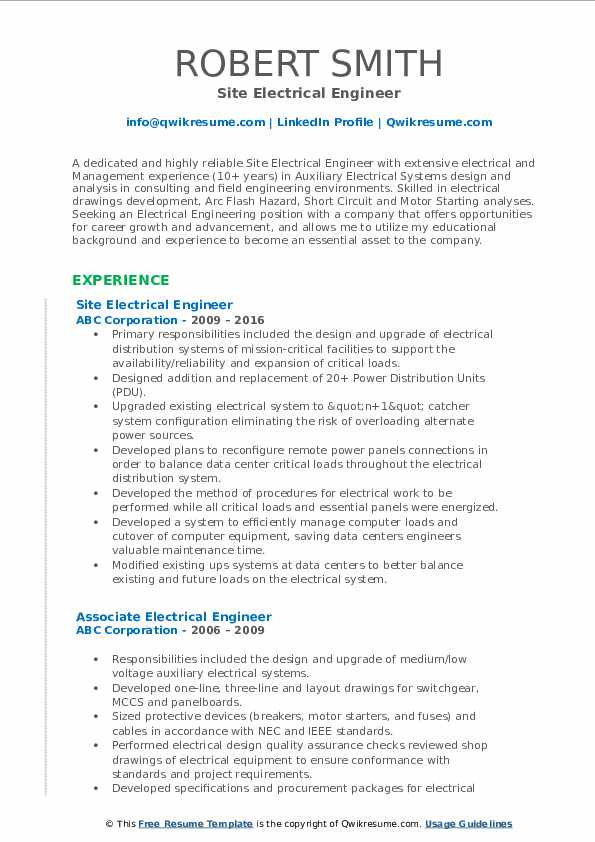 Site Electrical Engineer Resume Model